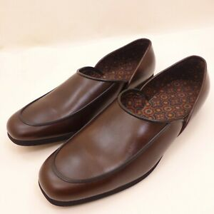 Towncraft-Men-039-s-10D-Vintage-Brown-Faux-Leather-Slip-On-Slippers-Excellent-Cond