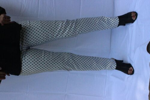 Wide Waist Stretch printed skinny pants with v notch at bottom Made in USA
