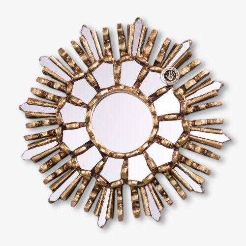 """Small Gold SUNBURST MIRROR 7.8/"""" Rond En Bois Miroir Mural Set 3-Peruvian Miroirs"""