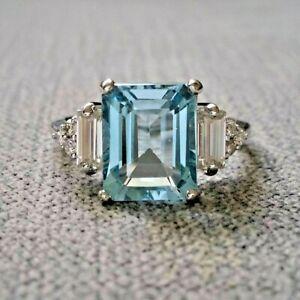 3Ct Emerald Aquamarine Diamond Solitaire Engagement Ring 14ct White Gold Over