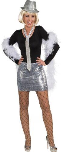 Orl Damen Kostüm Pailletten Minirock Top silber Karneval