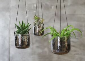 Image Is Loading 1 Large Silver Clear Gl Hanging Planter Mercury