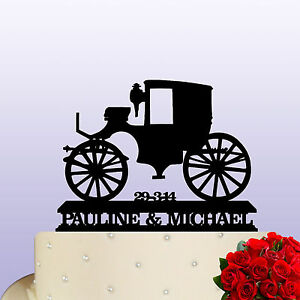 Image Is Loading Acrylic Vintage Horse Carriage Wedding Anniversary Cake Topper