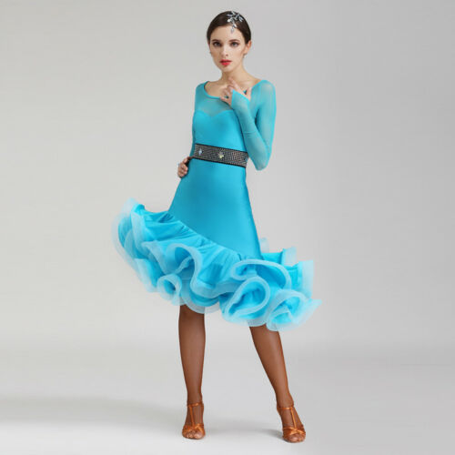 Latin Ballroom Dance Dress Modern Salsa Waltz Standard Long Dress#NN072 5 Colors
