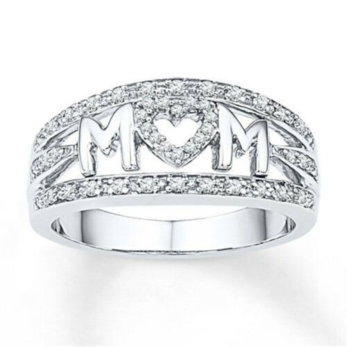 Love MOM Gift Silver 18k Gold //Rose Gold Filled Ring Family Birthday Mother Ring