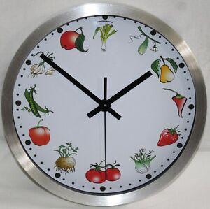 Wanduhr Küchenuhr Uhr Bahnhofsuhr Küche Motiv Obst Gemüse   eBay