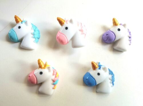 5 Unicorn flat back resin embellishments for craft card making etc.UK seller