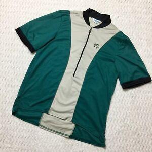 Pearl Izumi Men's Half Zipper Cycling Jersey Green/Beige Short Sleeve Size M