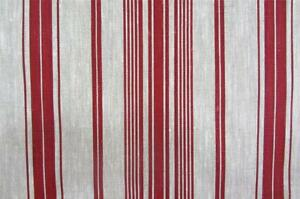 Donan Stripe in RedThick Durable French Cotton Upholstery Curtain Fabric