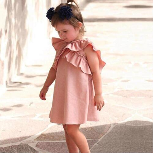 Summer Casual Dress For Kids Ruffle Classic Fancy Style Breathable Clothing Wear
