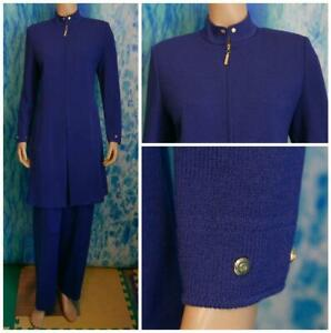 ST-JOHN-Collection-Knits-Royal-Blue-Jacket-Coat-L-10-12-DUSTER-DRESS-Pockets