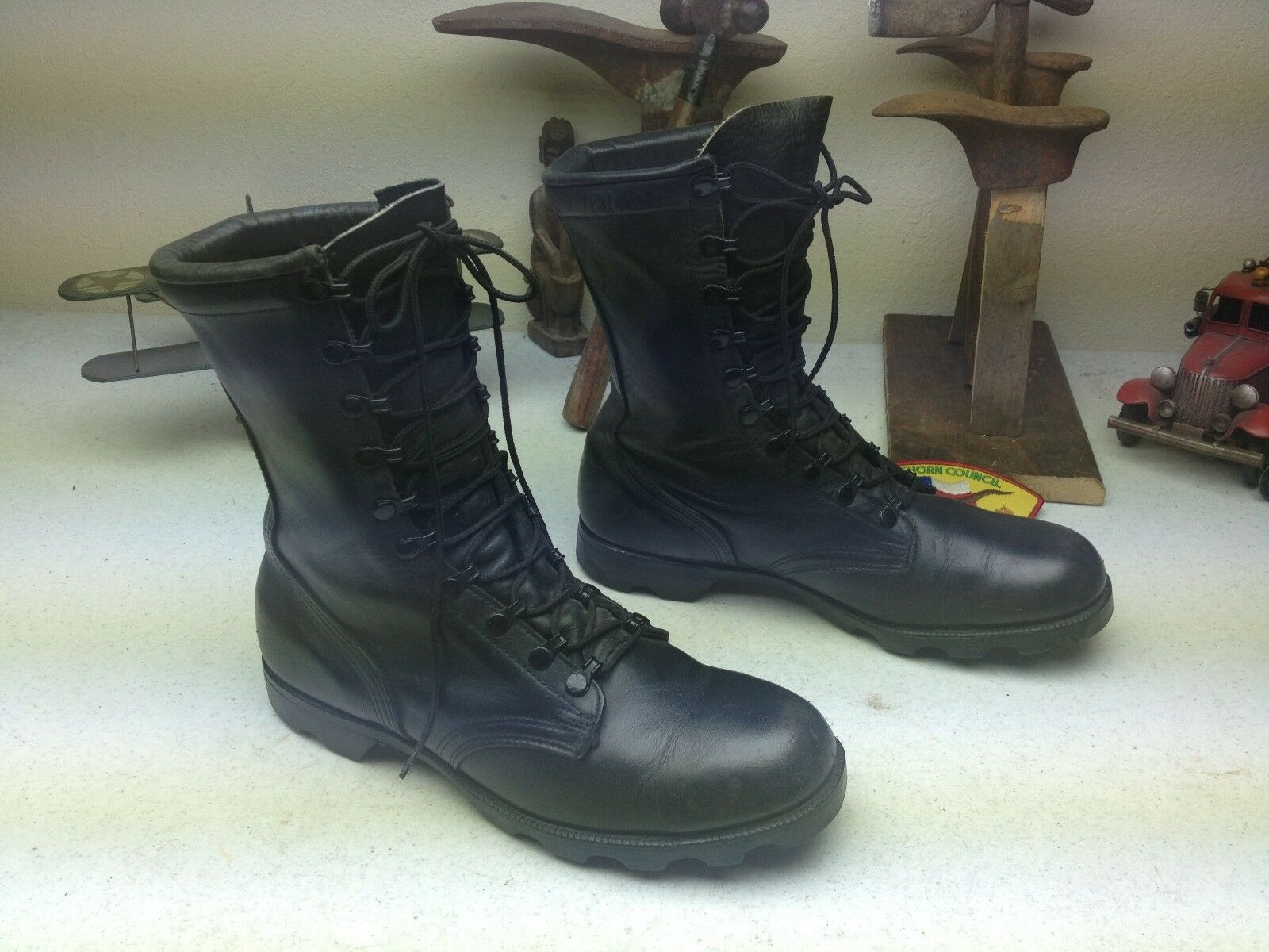 VINTAGE 1989 DISTRESSED schwarz LEATHER LEATHER LEATHER LACE UP MILITARY ENGINEER Stiefel 10.5 D bb0fd7