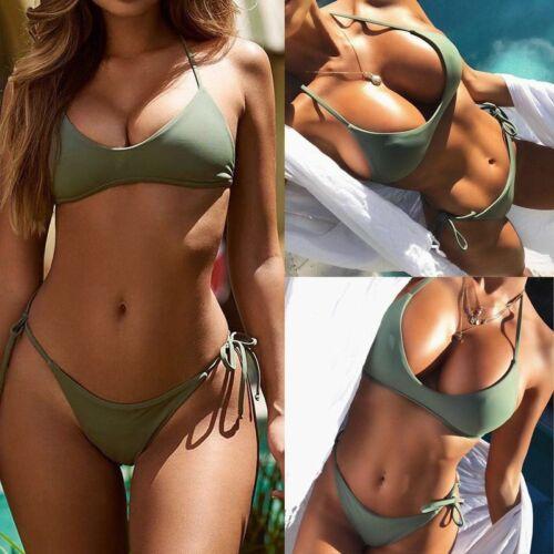 Set di Bikini Stile Militare push up imbottito 2 Pezzi Costume Da Bagno Elegante Donna Costumi da bagno