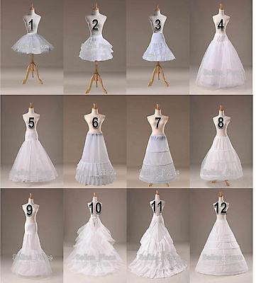 12 Styles White A Line/Hoop/Hoopless/Short Crinoline Petticoat/Slips/Underskirt