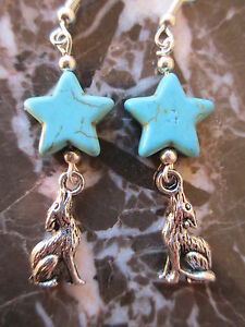 Cute-Silver-Howling-Wolf-amp-Turquoise-Stars-Artisan-Earrings-Goddess-Pagan