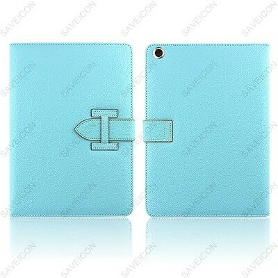 Blue Premium Leather Wallet Card Flip Folio Smart Case Stand For iPad 2 3 4