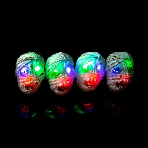 Mummy Flashing LED Plastic Rings Light Up Finger Glow Toy Party Bag Wholesale UK