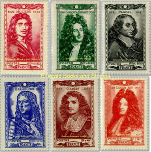 EBS-France-1944-Celebrities-of-the-17th-Century-YT-612-617-MNH-cv-17-00