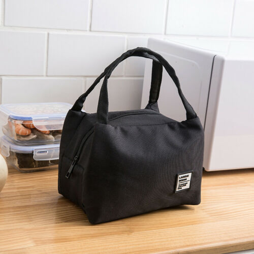 N//A wasserdichte Patch Lunch Bag Wärmeisolierte Bento Case Handtasche Schw