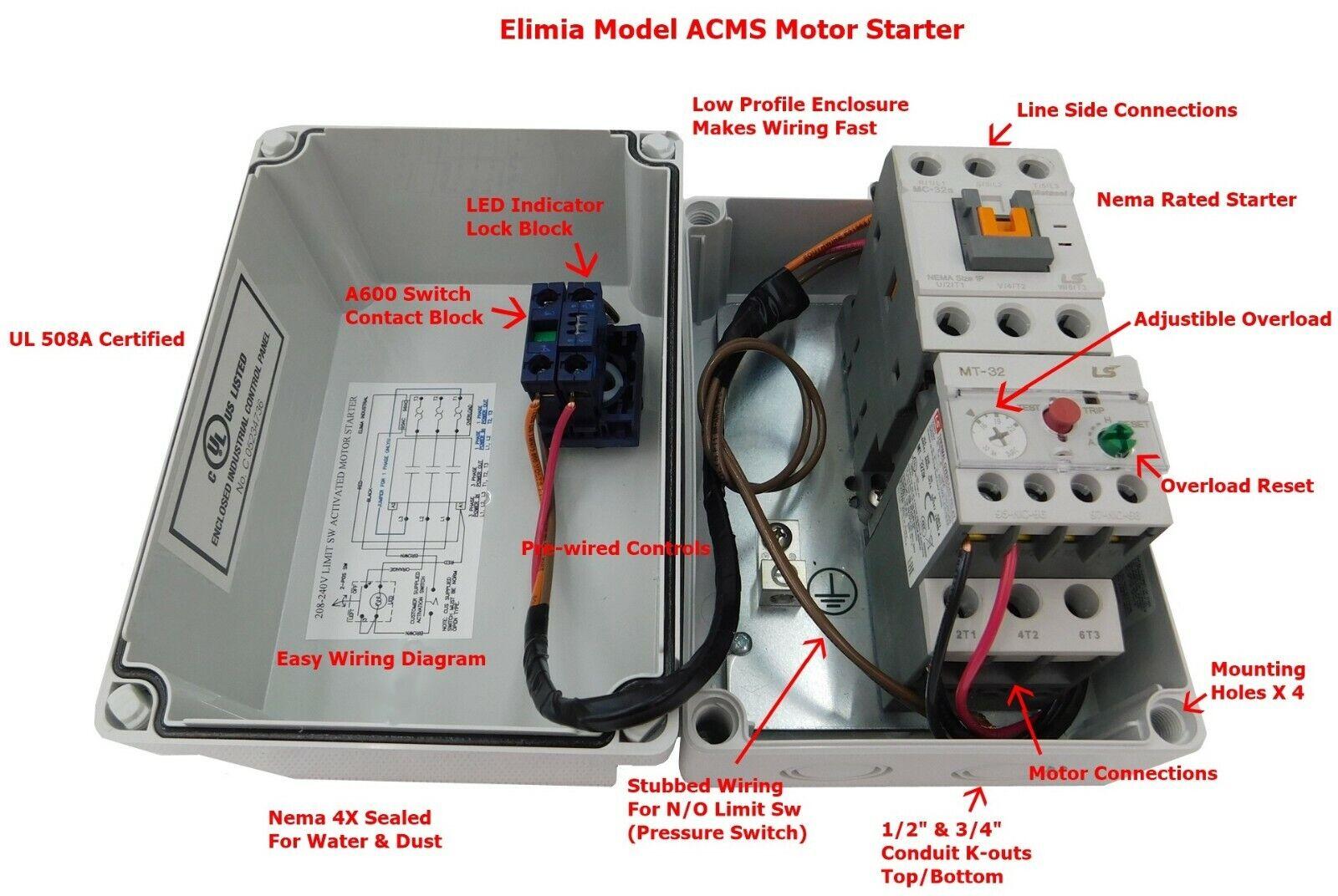 Reversing Motor Starter 10 HP @ 230V 230 Volt 23-32 Amp Overload 120V Coil