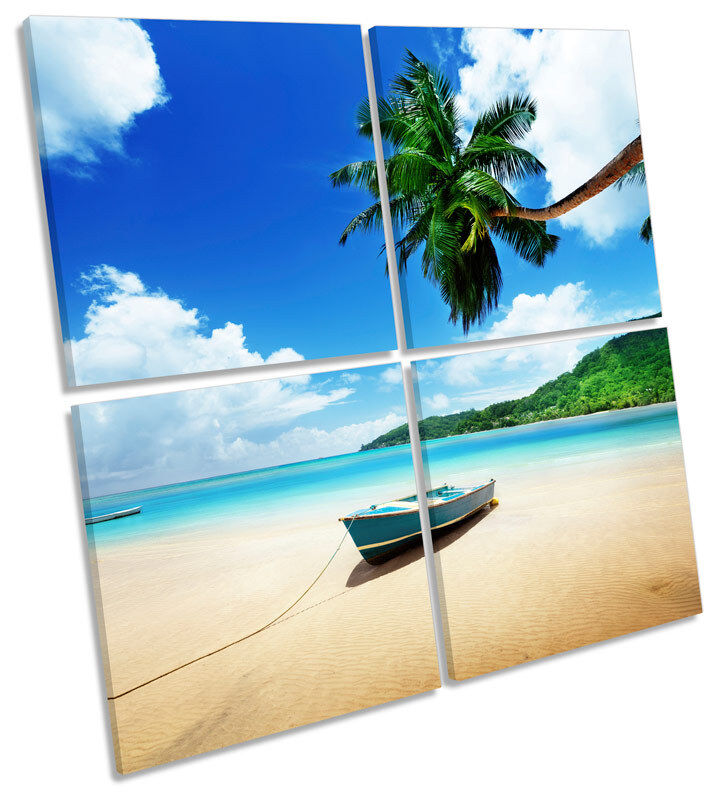Caribbean Beach Boat MULTI CANVAS WALL ART Square Print