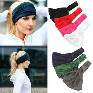 Womens-Elastic-Stretch-Wide-Hairband-Yoga-Gym-Headband-Turban-Running-Head-Wrap