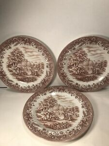 3-CHURCHILL-ENGLAND-CURRIER-amp-IVES-BROWN-DINNER-PLATES-039-039-HARVEST-039-039-10-1-4-039-039