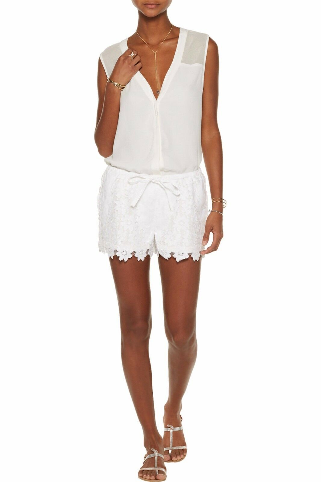 W118 BY WALTER BAKER Jasper Floral Lace Paneled Cotton Shorts White Sz M  128NWT