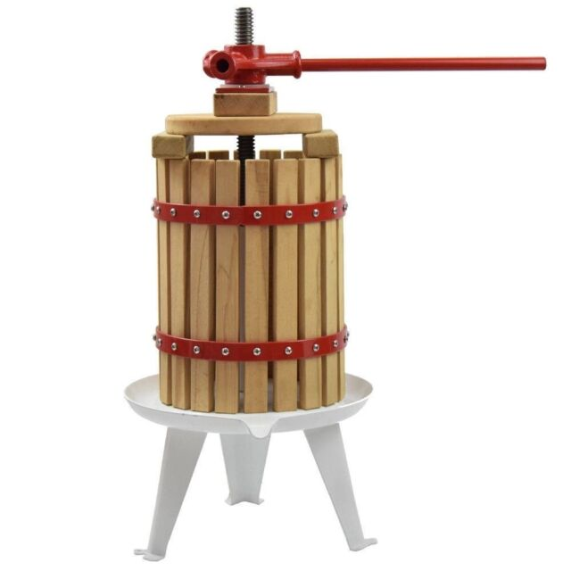 Fruit and Wine Manual Press Solid Wood Basket 4.75 Gallon 18L EJWOX Cider Press