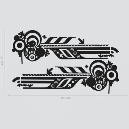 2x pages décor abstrait rétro décor voiture autocollant pages bandes #1083