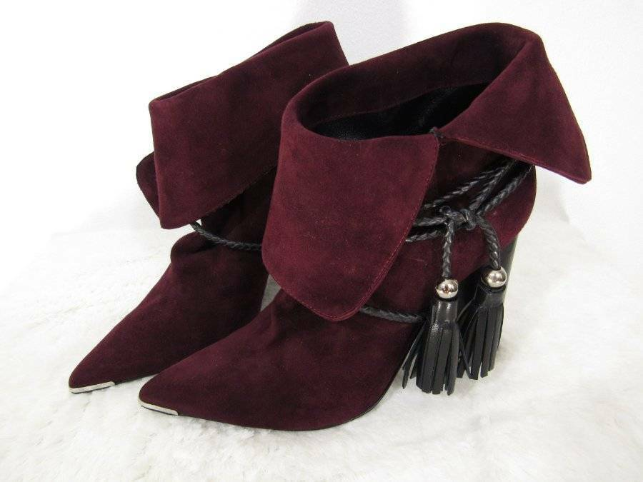 Barbara Bui Botines Rojo Trenzado Borlas US 5 botas puntas metálicas de Borgoña