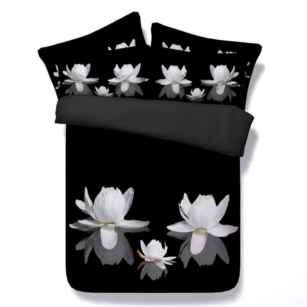 White Water Lilies 3D Printing Duvet Quilt Doona Covers Pillow Case Bedding Sets