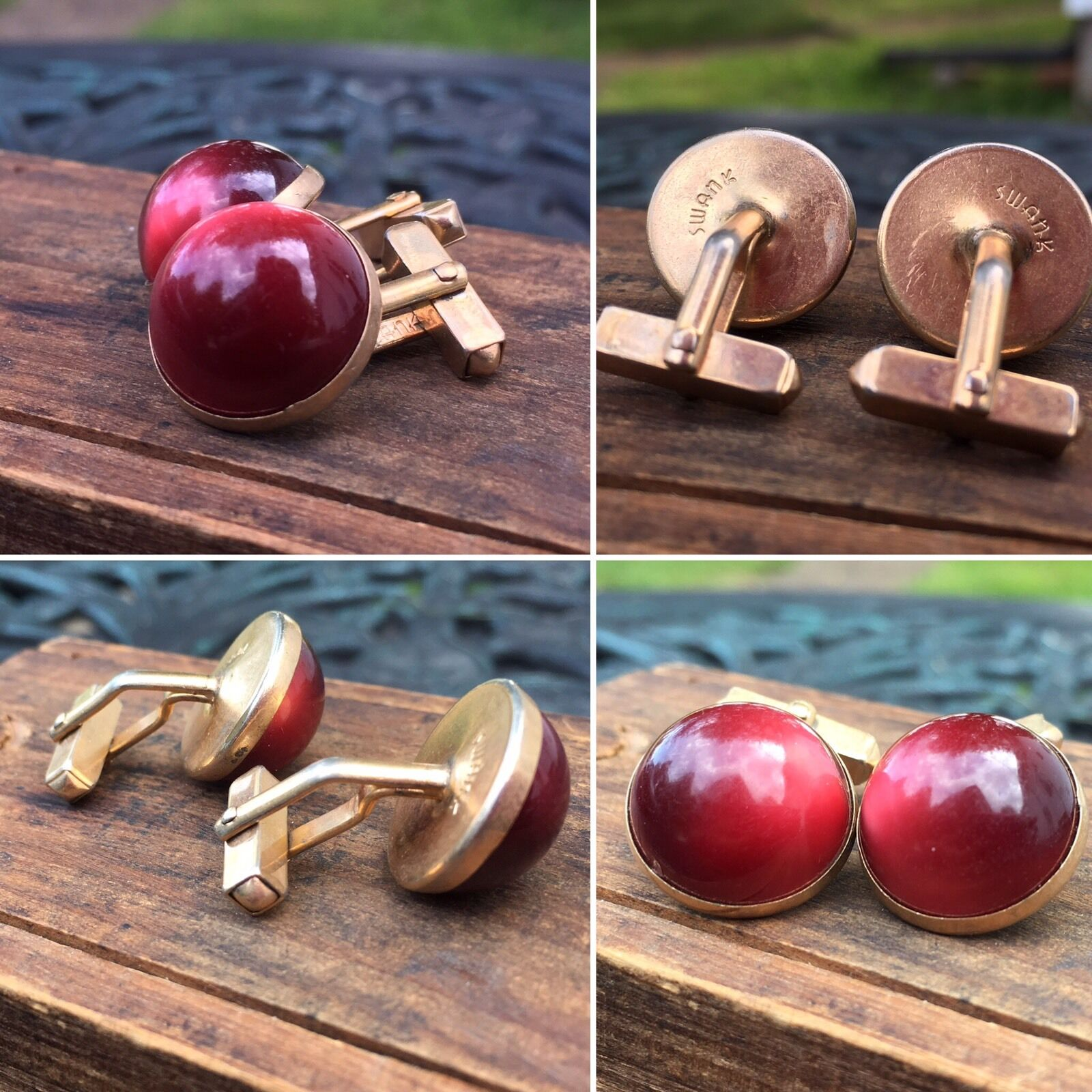 Vintage SWANK Cufflinks Burgundy Red Faux Tigers Eyes Cuff links Mid Century