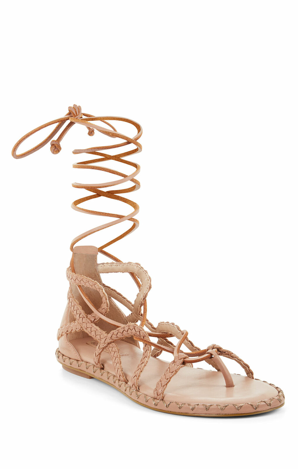 BCBG MAX AZRIA MAYE MAYE MAYE DEEP SAND LEATHER WOVEN LACE-UP FLAT GLADIATOR SANDALS 4995ca