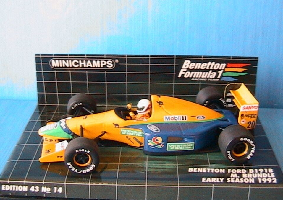 BENETTON FORD B191B  20 EARLY SAISON 92 BRUNDLE MINICHAMPS 400920120 1 43 MOBIL