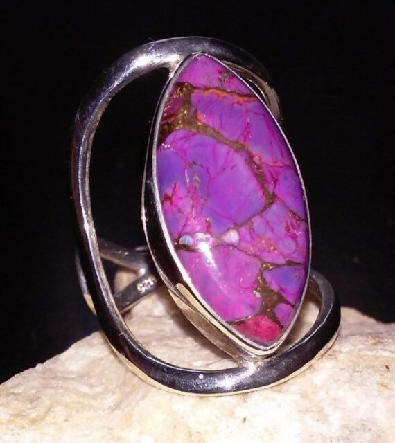 ARYA MARQUISE CUT STBL CLR ENH PURPLE COPPER TURQUOISE REAL 925 SS Adj Ring