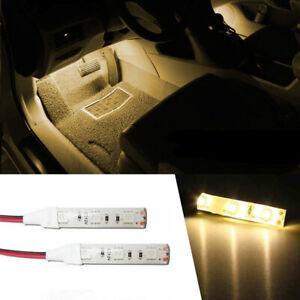 2x 5cm Blue 3 SMD LED Light strip 12V Car Courtesy stereo Glove box under dash