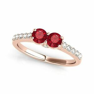 fde339446e00 1.10 Ct. Ttw Two Stone Diamond And Ruby Ring In 14k Gold