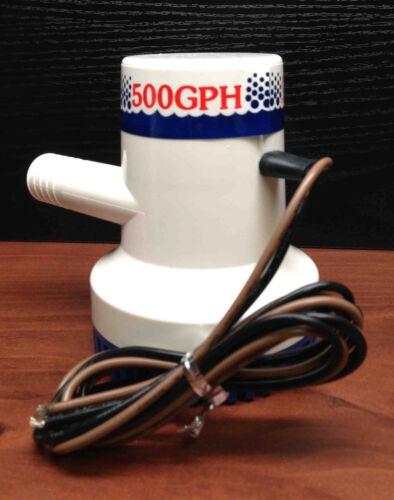 "Marine Boat  500 GPH ABS Manual Bilge Pump 12V Straight hose Adaptor 3//4/"" Hose"