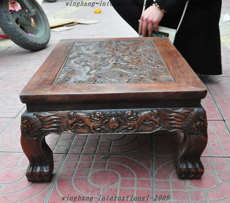 Old Chinese Huanghuali Wood HandCarved Dragon Kirin Coffee Table - 17 inch high coffee table