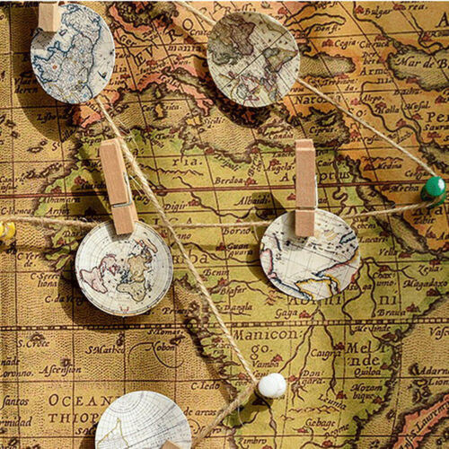 46pcs Vintage Poster Map DIY Diary Stickers Paper Lables Gifts Packaging De ZR