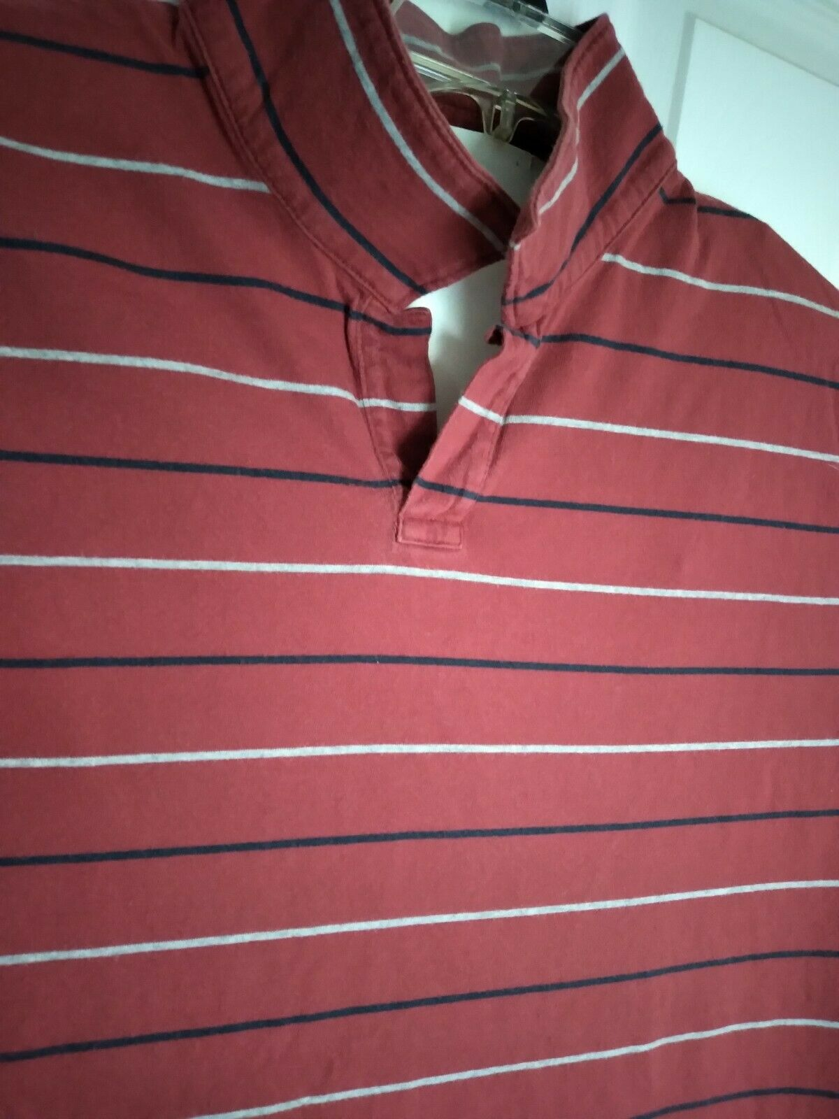 90's 2XL Gap, Red with Pin Stripes, Long Slim Fit, Collar Tshirt VintageOldStock