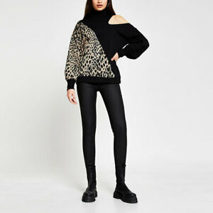River Island Womens Black Animal Print Asymmetric Sweatshirt