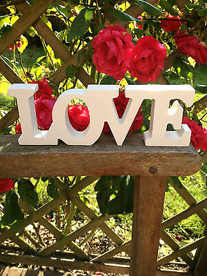 NEW WHITE WOODEN FREE STANDING LOVE LETTERS SIGN PLAQUE DECORATION GIFT