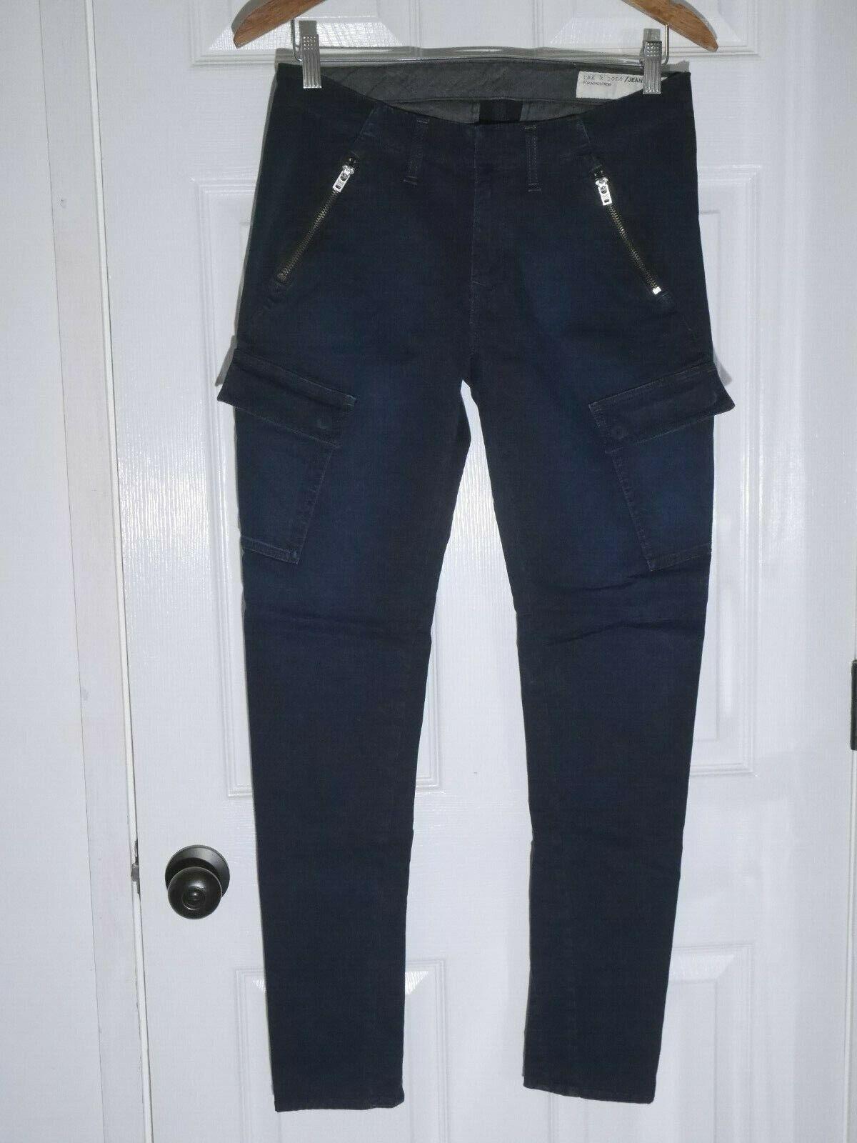 Rag & Bone Bowery Cargo Skinny Pants in Distressed Navy - Size 27