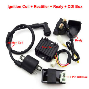 PeakCar Ignition Coil Starter Relay Rectifier Regulator CDI Unit Box Repair Kit Compatible with Chinese ATV Quad 150cc 200cc 250cc Car Accessories