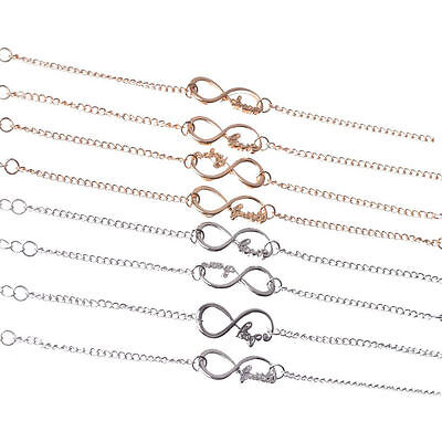 4 Styles New Fashion Jewelry Gold/Silver Infinity Blessing Bracelet For Women