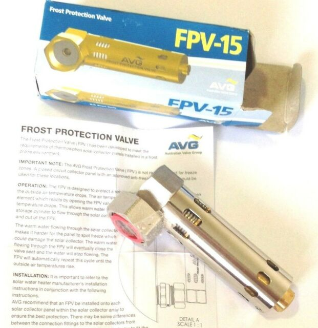 "AVG Solar Anti Frost Protection Valve FPV-15 15mm 1/2"" half inch Female Thread"