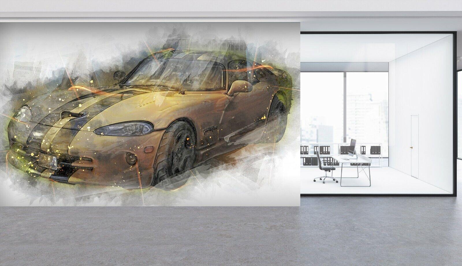3D Cool Sports Car B018 Car WandPapier Mural Sefl-adhesive Removable Wendy