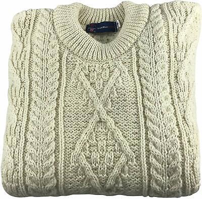Cream Made in Great Britain Unisex Authentic British Wool Arran Jumper
